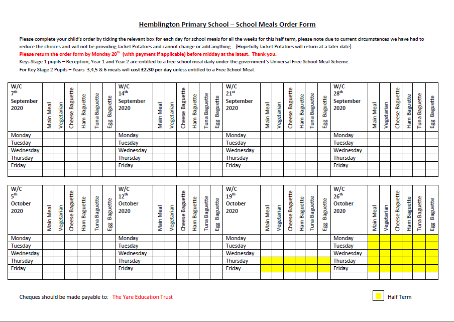 School Meals Order Form